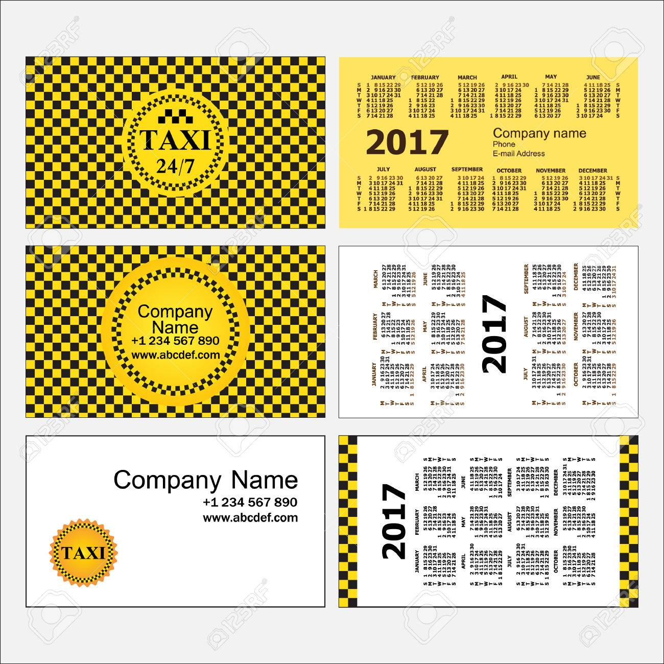 Taxi. Stylish Set Of Business Card Templates And Calendars Royalty ...