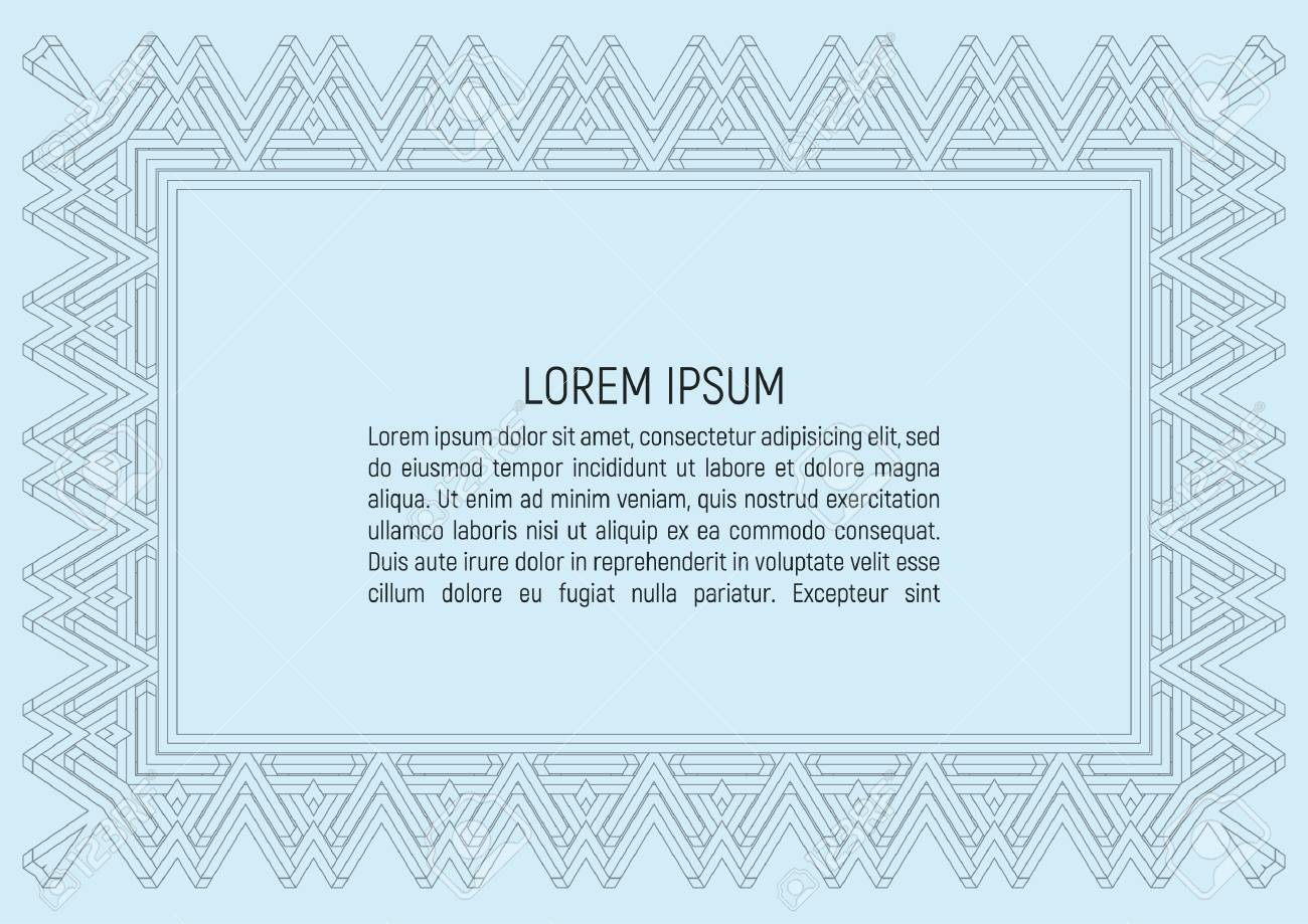 Certificate Template. With Guilloche Pattern And Background ...