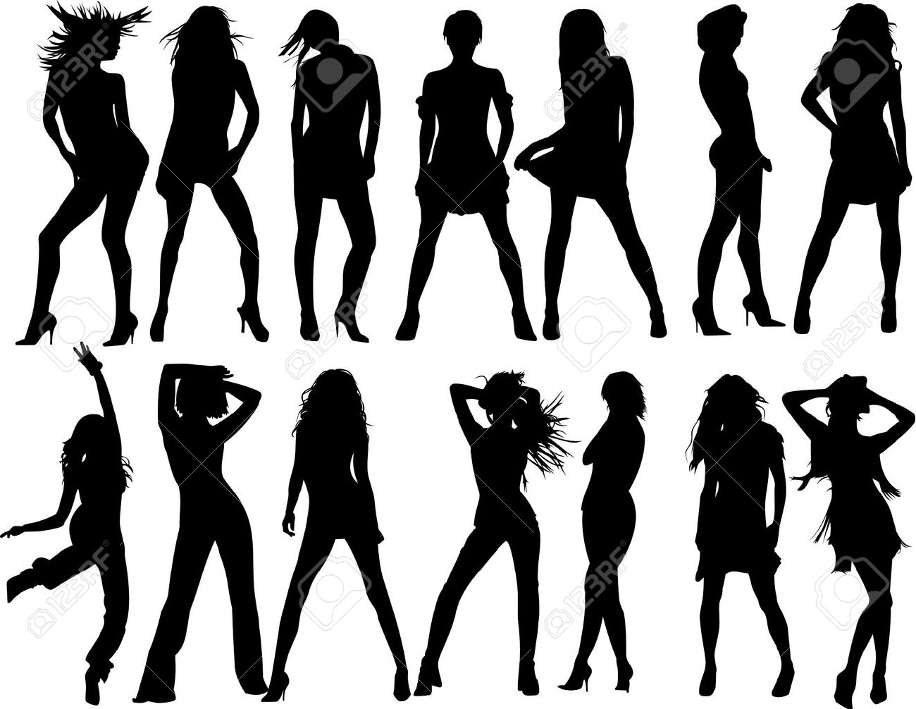 Vector Fashion Women Silhouette Royalty Free Cliparts Vectors And