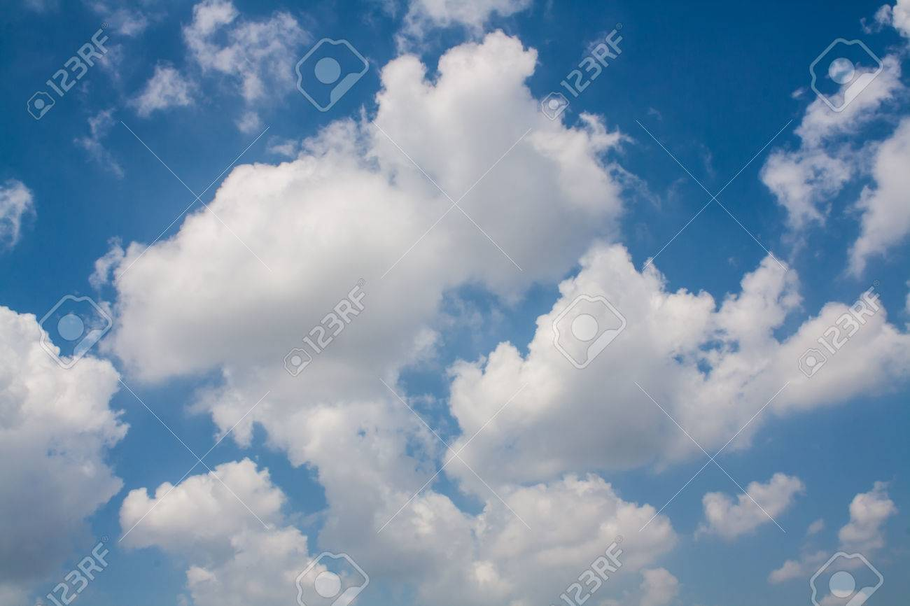 beautiful blue sky with white clouds wallpaper stock photo, picture