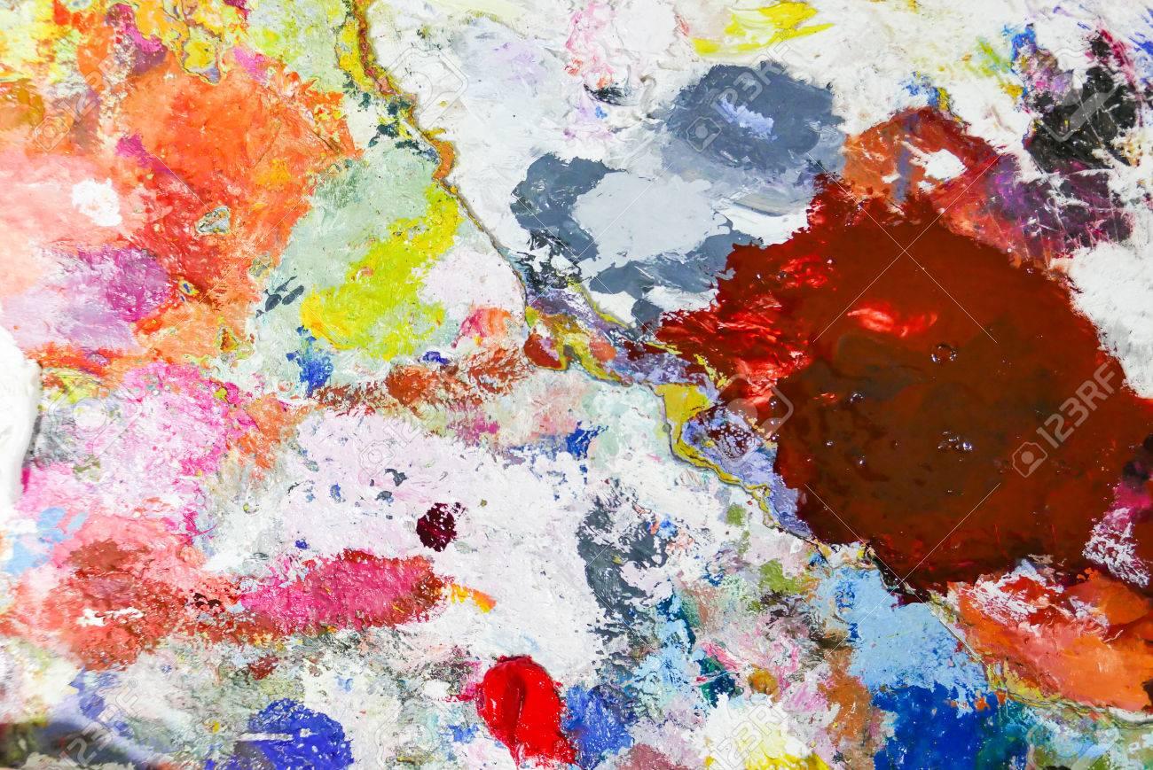 Abstrakte Farbe Palette Acryl ölfarbe Farbe Textur Flecken Von
