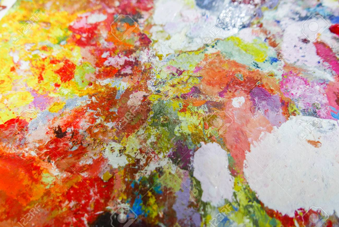 Abstract Color Palette Acrylic Oil Paint Color Texture Spots