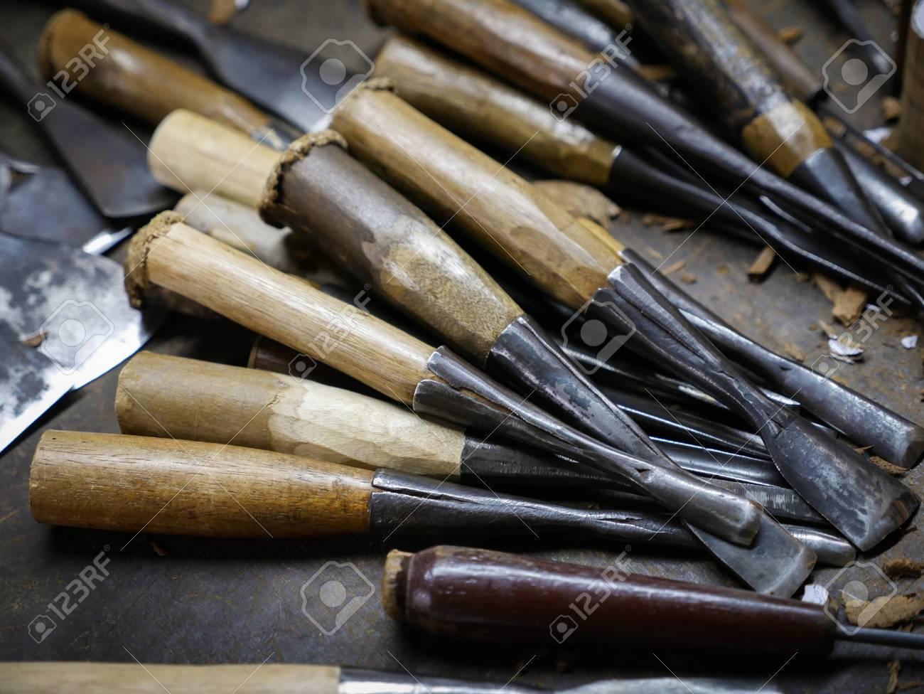 photo set of wood carving tools carpenter wood chisel tool