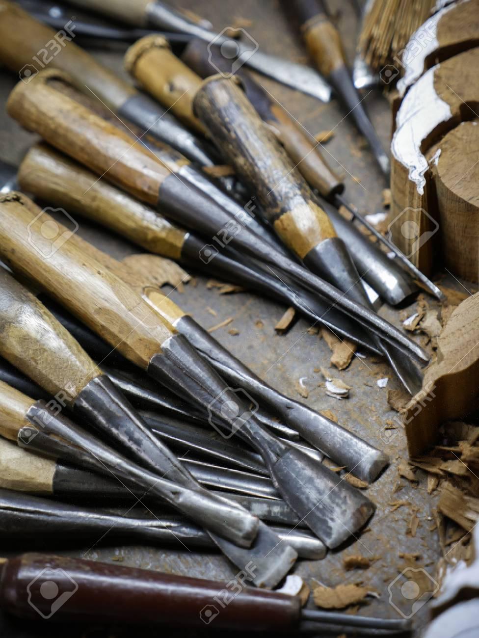 Set of wood carving tools carpenter wood chisel tool stock photo