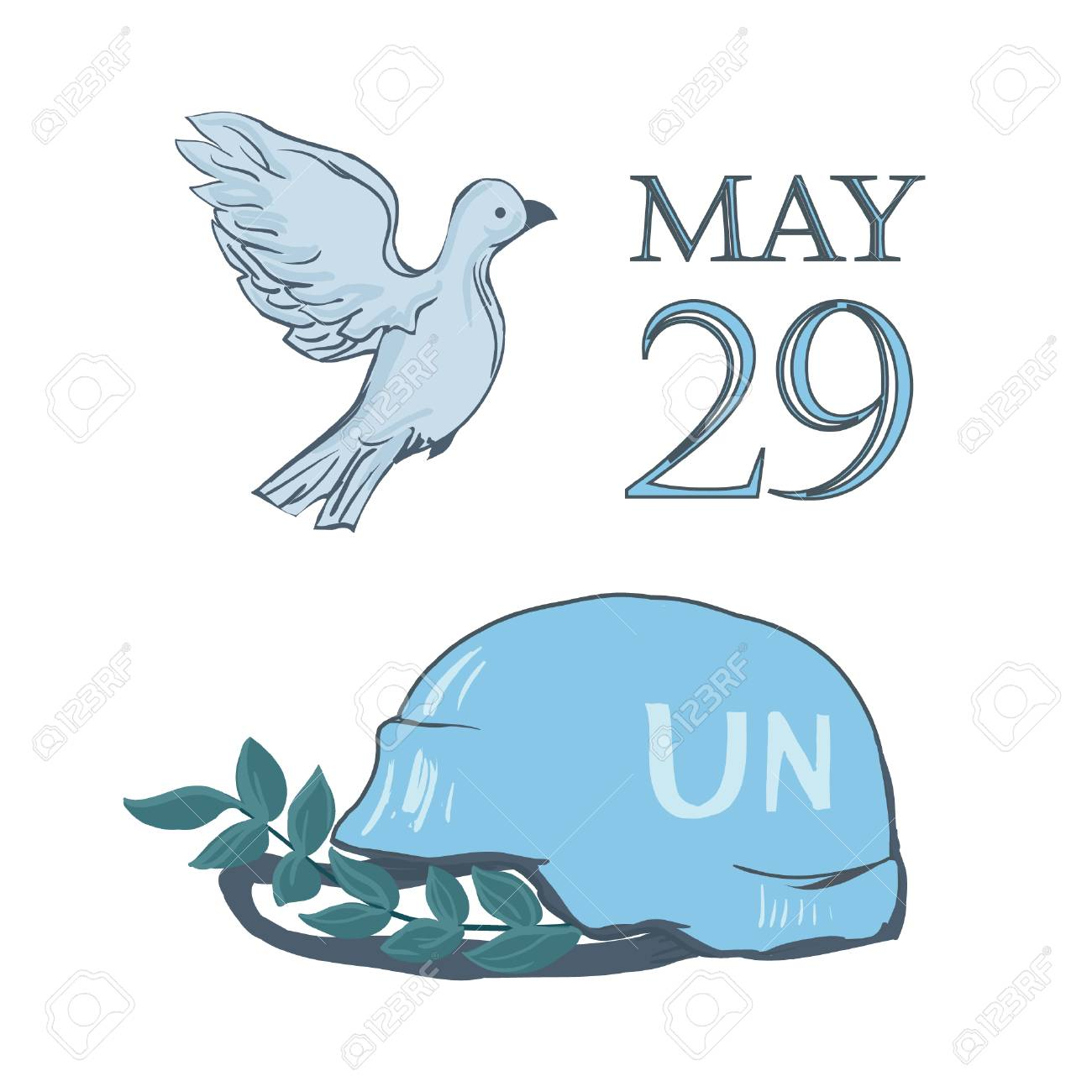 A postcard by May 29 is the international day of the United Nations of peacekeepers. Flying dove of peace, blue helmet of military defender and branch - isolated on white background. - 103669312