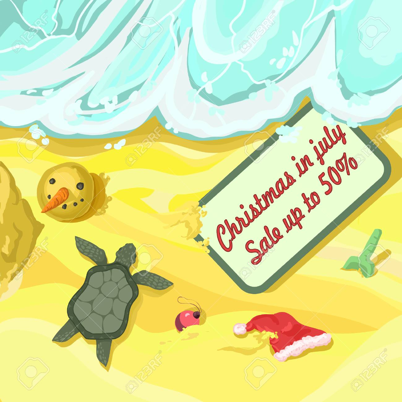 Happy Christmas In July Images.Merry Christmas And A Happy New Year In July Vector Sunny Postcard
