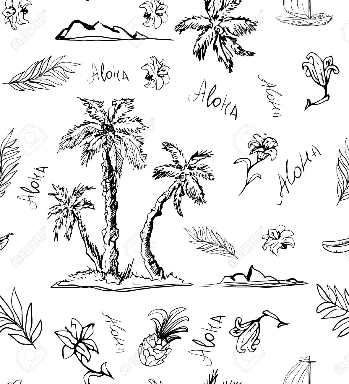 Trendy Seamless floral pattern on white background. Landscape with palm trees, beach and ocean. Seashore beach with palm trees. Print cloth, paper, wrapper - 100566964