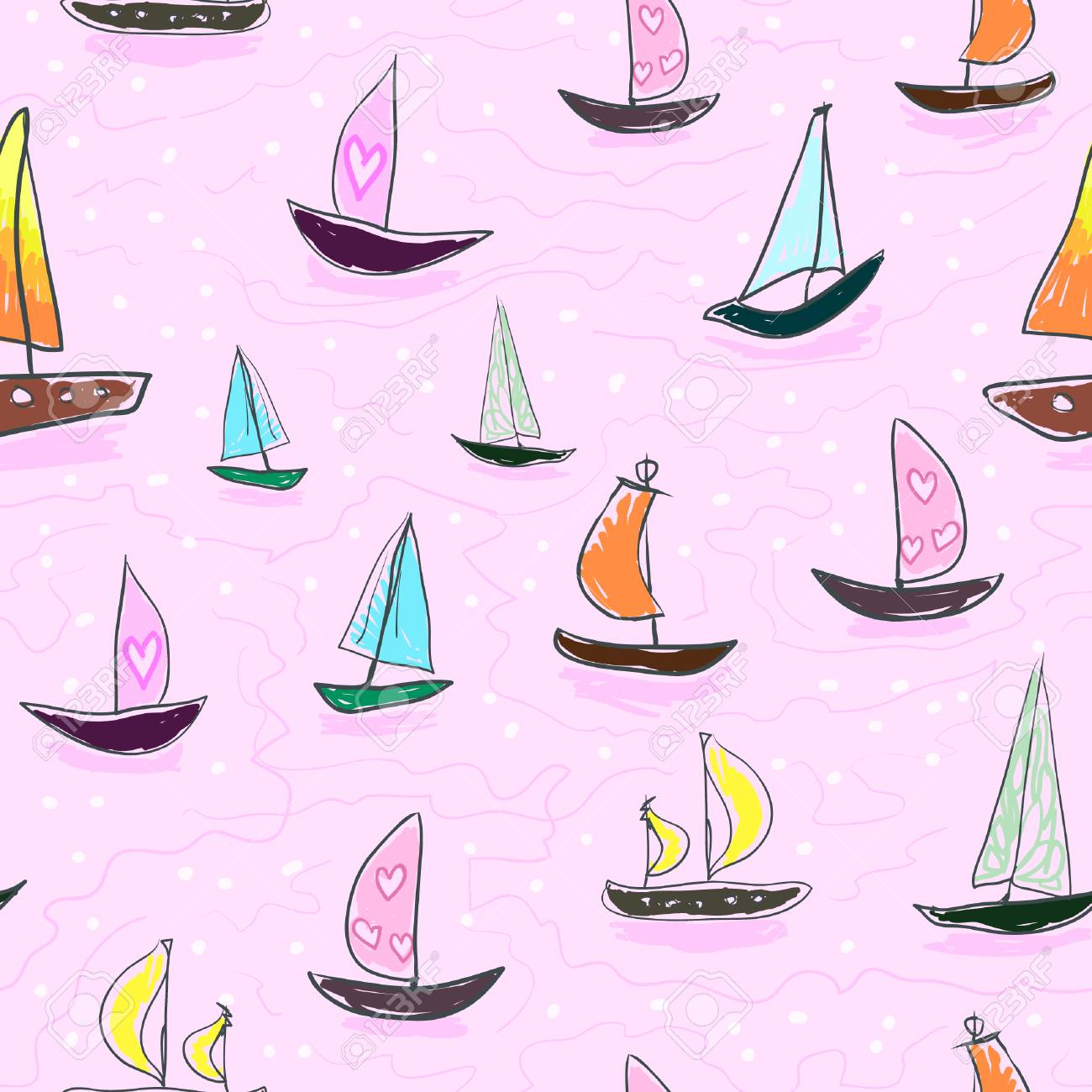 Seamless baby kids pattern Hand drawing colorful yachts vector. Many small colored sail boats on a pink background. Flat style illustration. Summer, vacation, travel, heat, paradise. Print mask paper - 100566965