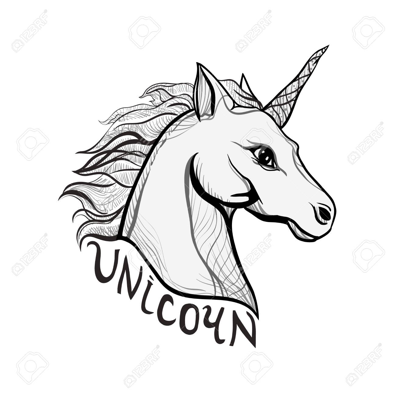 Unicorn Vintage style beautiful gothic. Character tattoo design artwork for print sketchbook cover, fabric textiles. Isolated vector illustration. Retro music cover, summer t-shirt, sticker text. - 100644953