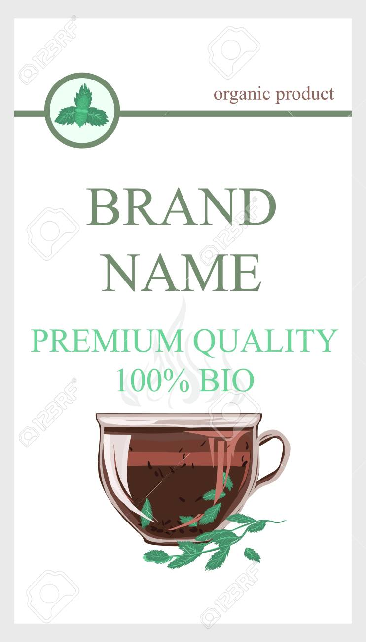 Herbal Tea Packaging Branding with Cup of tea Mint leaves. Eco Cover wrap for mint leaf tea, dried ingredient. Tea Brand Element for design template flyers, gift cards, invitations and brochures. - 100952699