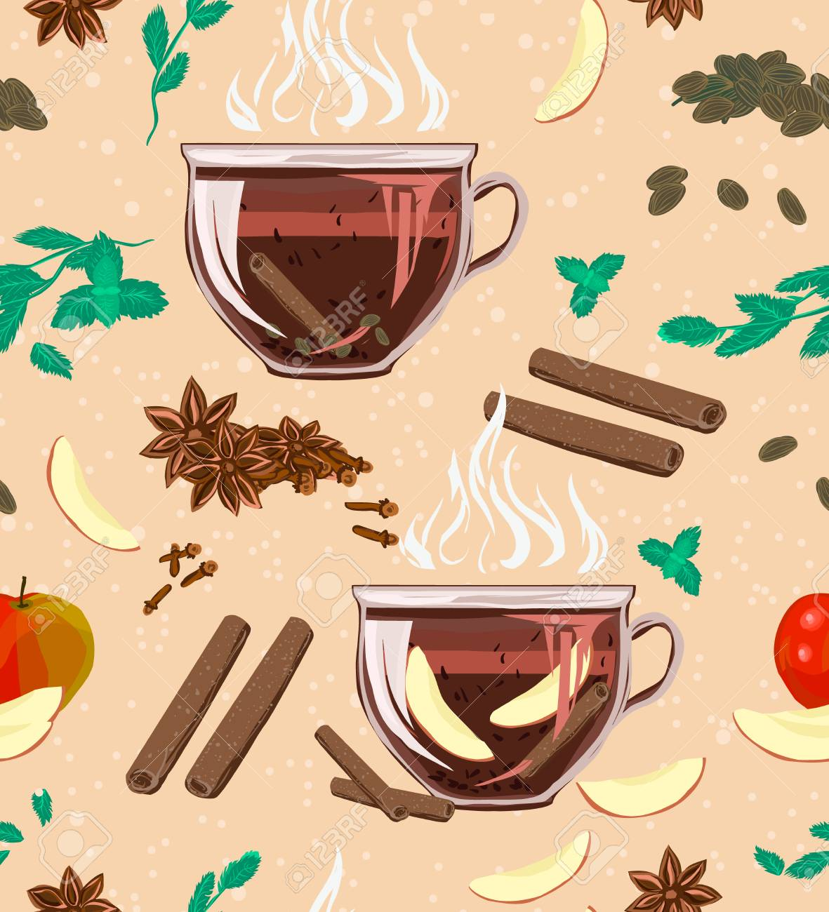A seamless cozy pattern with large-leaf black tea, mint, cinnamon, cloves, cardamom and apple. Vector illustration for cover, wrapper promotional product, menu or recipe. Aroma, the taste of this useful tea! - 101157579