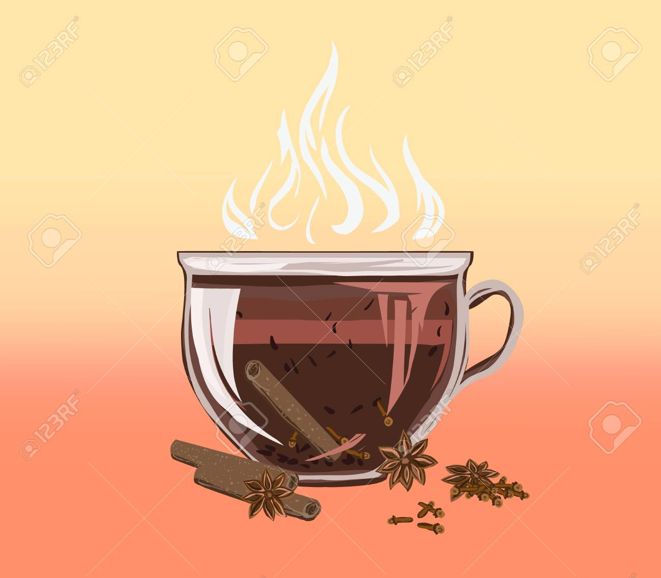 Black leafy herbal tea in a cup with cinnamon and cloves. Fragrant tasty morning drink with beneficial properties for cleansing detoxifying body, for relax. Vector flat cozy illustration recipes and advertising. - 100875596