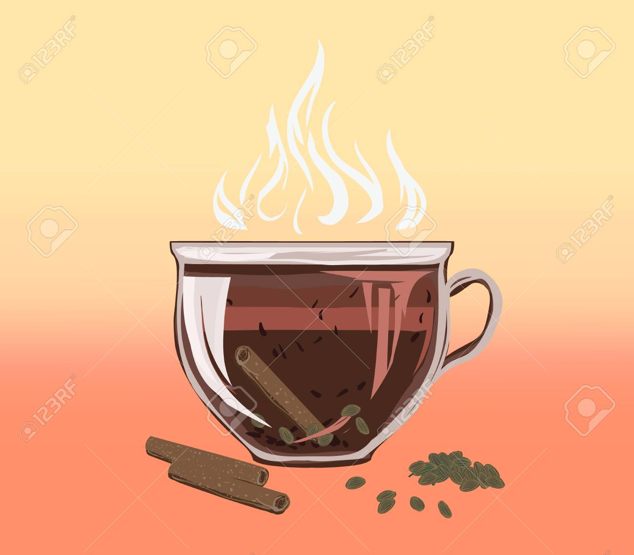 Black herbal tea in a bowl cup of cinnamon and carded cardamom. Аragrant tasty morning drink with beneficial properties for cleansing detoxifying body, for losing weight. Vector flat cozy illustration. - 101157583
