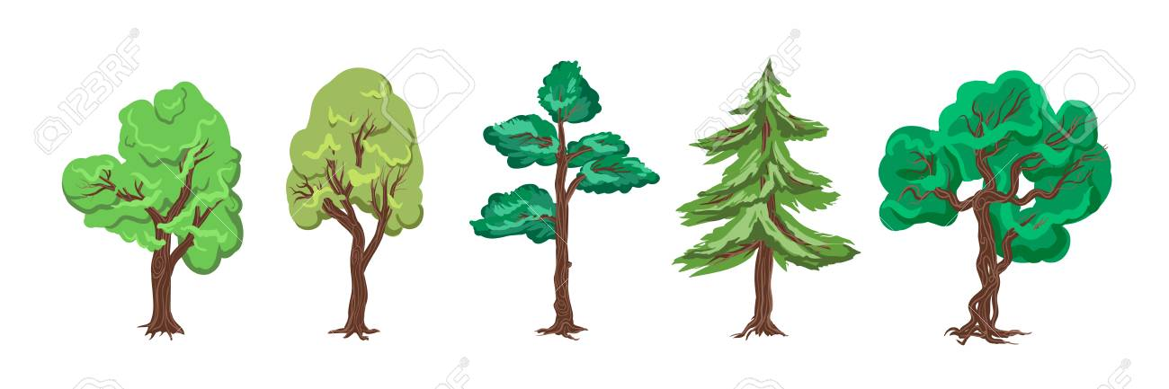 European Day of Parks. Holiday of May 24. Trees for a botanical garden, forest, entourage - collection, vector set isolated on white background. Cartoon Game flash flat graphic trees for background. - 100894075