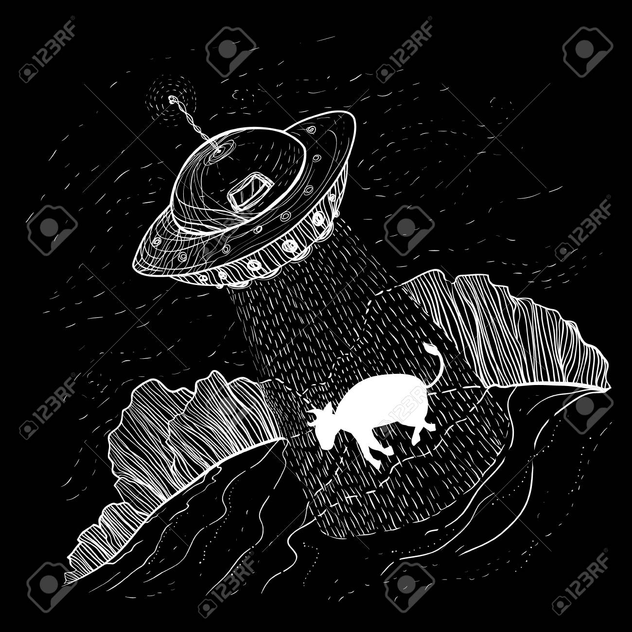 UFO aliens abducts cow template - 100901579