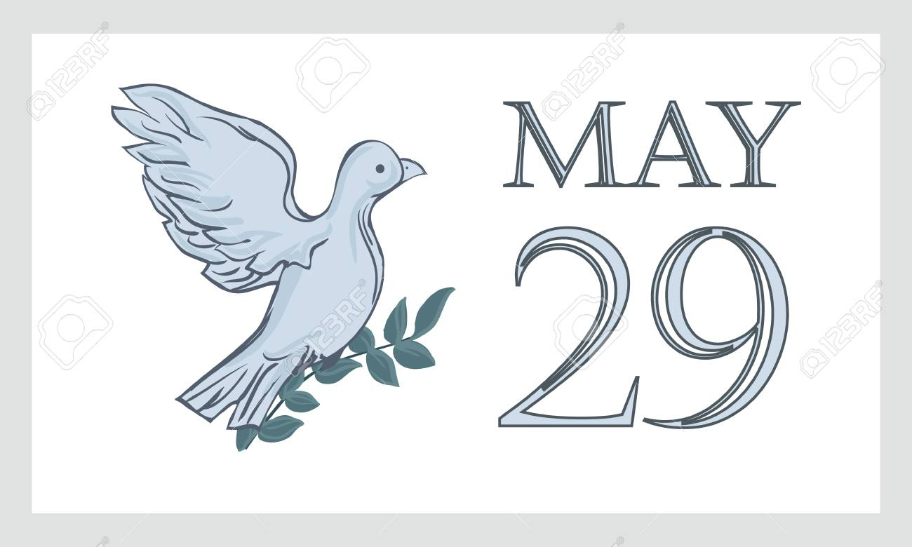 A postcard by May 29 is the international day of the United Nations of peacekeepers UN. Dove, pigeon with branch and text - isolated on white background. - 100894076
