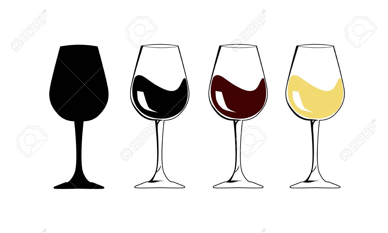 The silhouette wineglass icon with white and red wine - Flat Vector illustration graphic and web design. Internet concept Goblet symbol for web button, mobile app. National wine day. - 101122593
