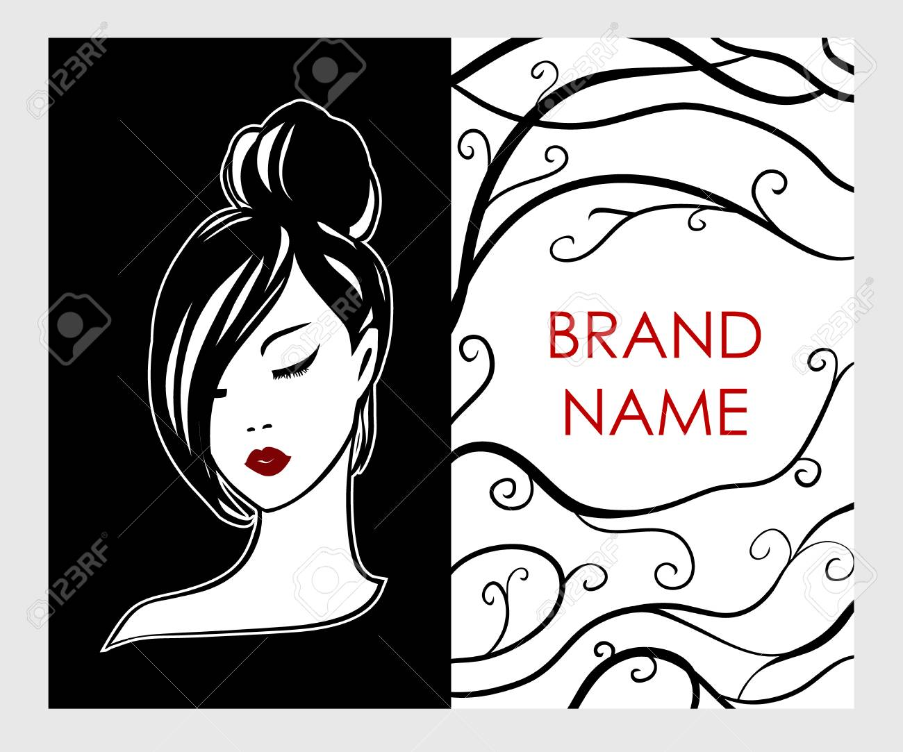 Business card, flyer with logo emblem of girl in black and white style - fashionable stylish design concept. Red lips on a white face - print vector fashion template for beauty salons and hairdressing - 101107796