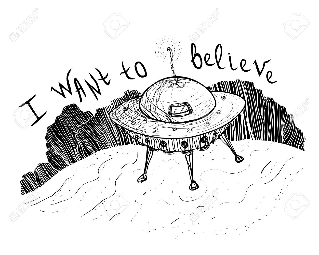 UFO aliens near a forest funny hand drawn sketch illustration, print design on a poster or T-shirt. - 101107386