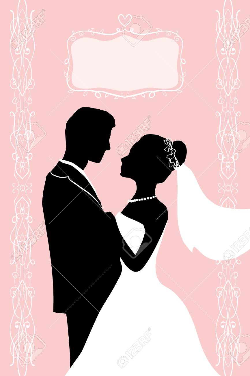 Flat ink Silhouette Bride and groom - wedding vector invitation greeting card in elegant romantic decorative style. A loving couple hugs - passion love of young people. - 101294714