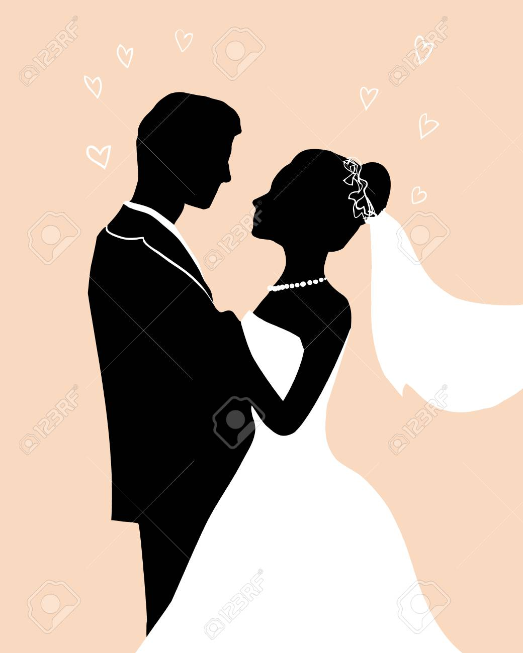 Flat ink Silhouette Bride and groom - wedding vector invitation greeting card in elegant romantic decorative style. A loving couple hugs - passion love of young people. - 101294715