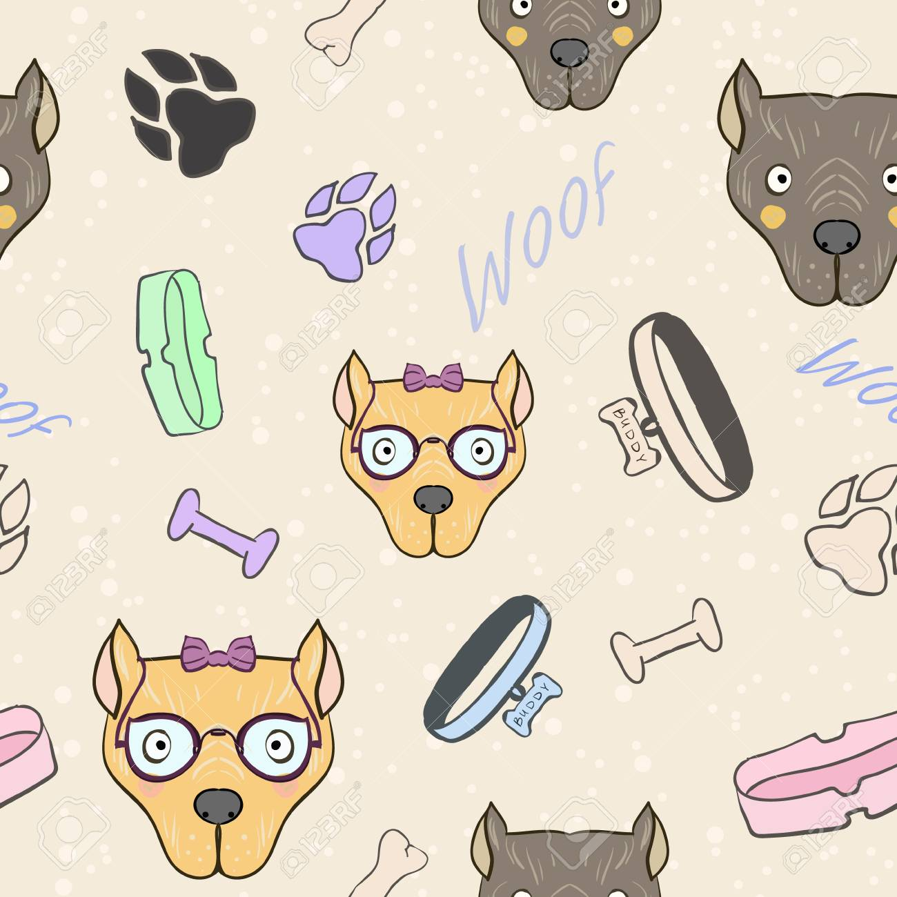 Vector abstract Seamless pattern with Bone, collar, bowl forage, bulldog dog boy and girl. Cute art for background and wallpaper, print on postcards, cloth, school supplies or cover notebook. - 101294718