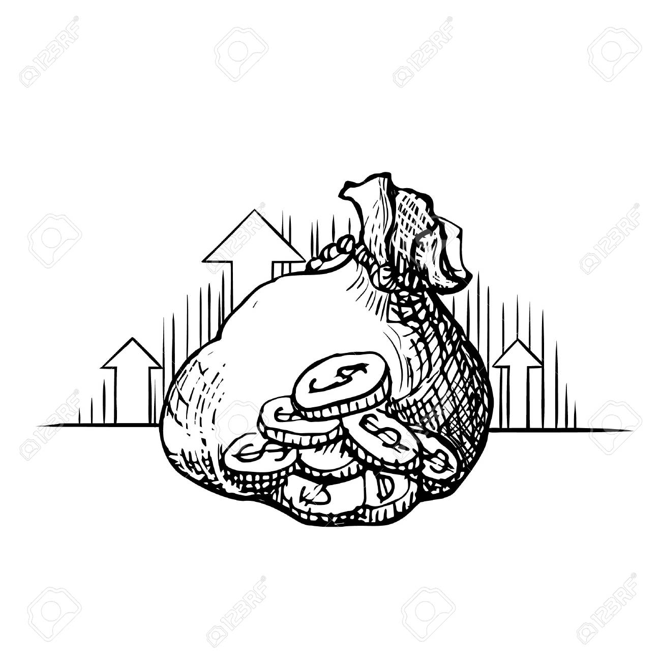 Vector vintage engraved ink illustration Money bag - hand drawn sketch icon moneybag dollar sign isolated on white background. Symbol of safe storage and wealth for a businessman - 101294721