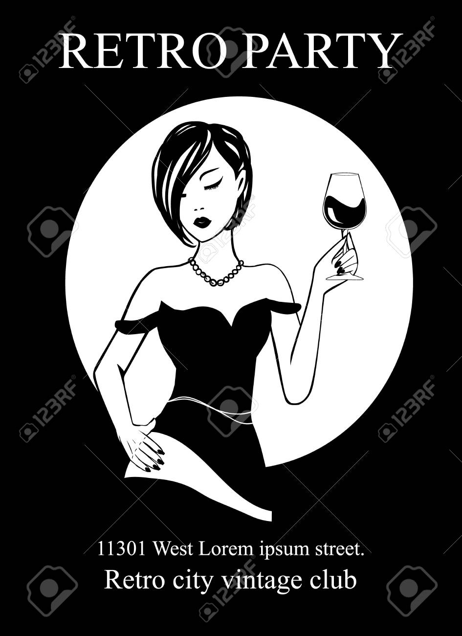 Poster Art Deco Retro Party 20th century style - ink silhouette girl in pearl necklace with wine glass. Invitation card on National wine day - Handmade drawing illustration Vintage minimalist style. - 101294723