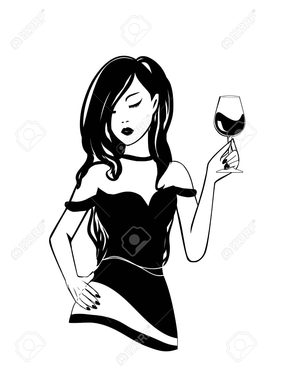 Isolated logo Silhouette of black and white stylish young girl with glass of alcoholic booze in National wine day. Party poster, illustration of fun fashion lifestyle woman with long curly hair - 101294827