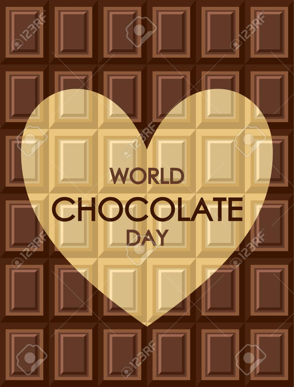 World chocolate day. Tiles of dark milk White and black chocolate. Background texture for wallpaper, wrapper, cover and packaging of desserts. Heart shape - card about love of sweets - 115033384