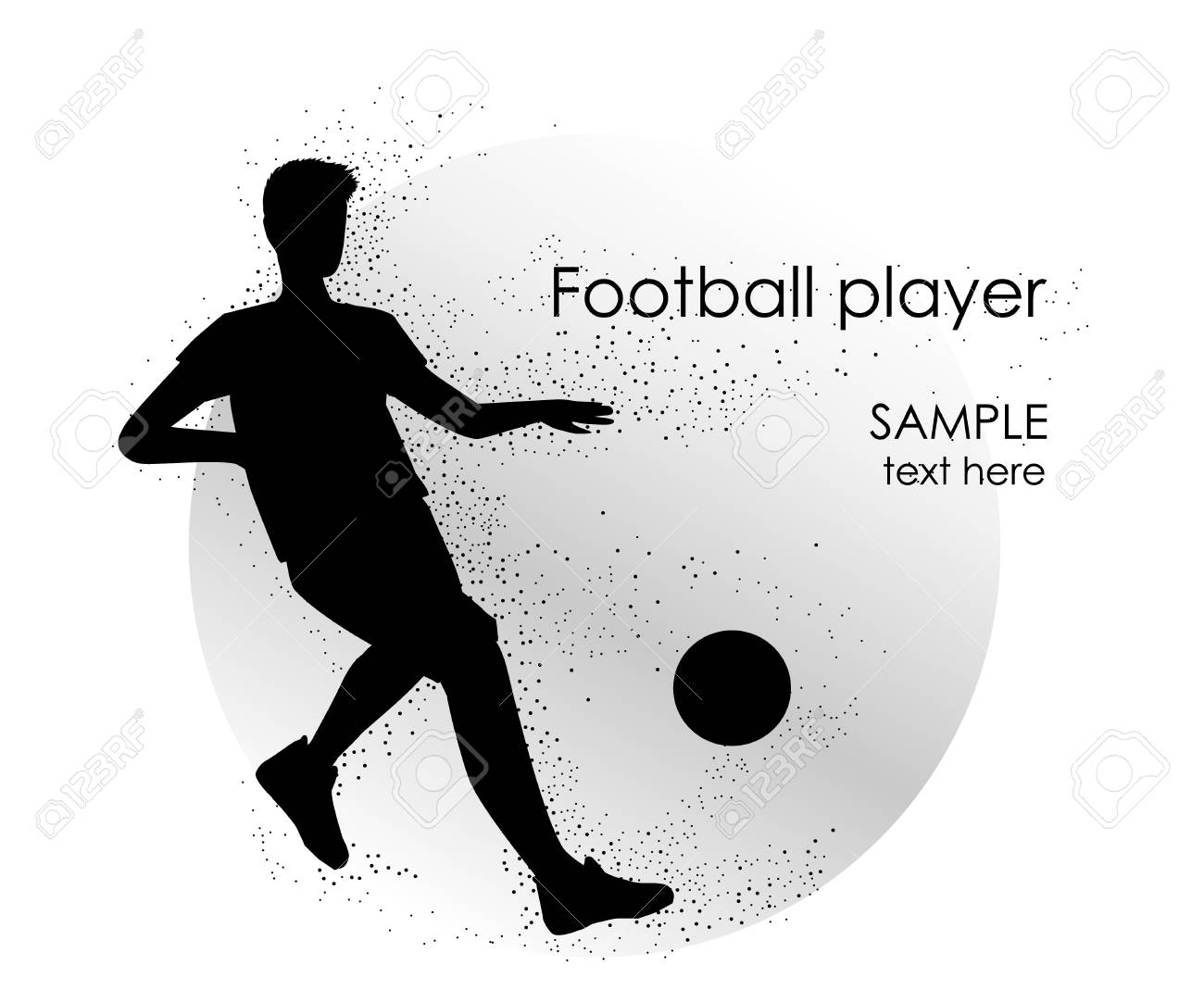 Football player silhouette - vector illustration. Man Soccer player Kick on ball. Person isolated on white background. Poster space for your text - 104765221