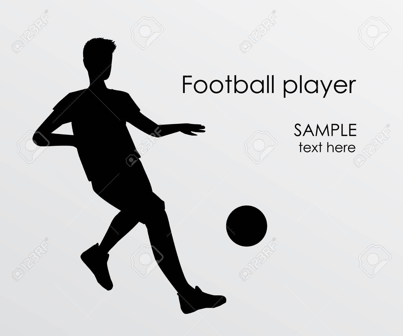 Football player silhouette - vector illustration. Man Soccer player Kick on ball. Person isolated on white background. Poster space for your text - 104765220