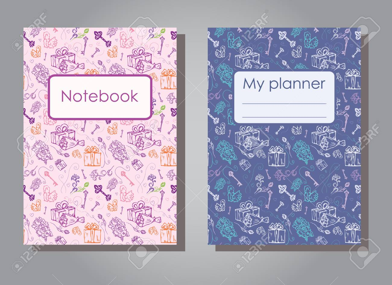Vector illustration set design template of floral covers for planners and notebooks. Layout dark and light version of books, albums. Hand drawn creative flowers, gift, keys for notepad cover - Size A5 - 104765116