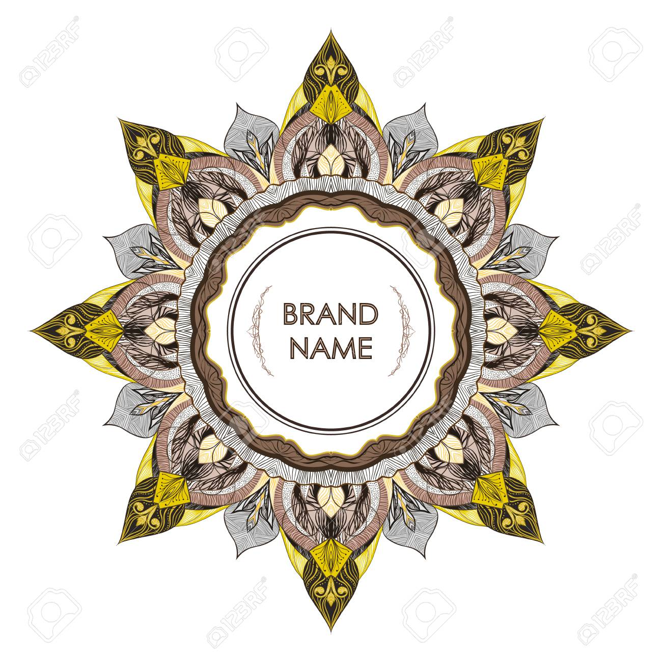 Vintage symmetrical decorative frame for text. Floral filigree detailing elegant style of drawing - empty space for brand name. Printing on envelopes, premium invitation, glasses, business card, stamp - 104765115