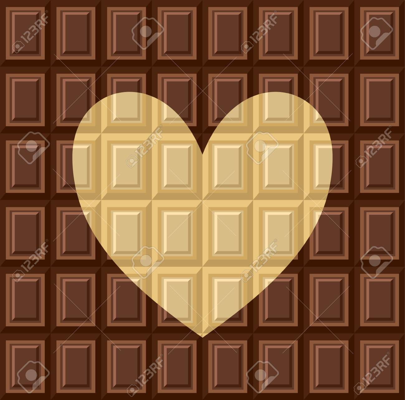 Seamless pattern - tiles of dark milk White and black chocolate. Background texture for wallpaper, wrapper, cover and packaging of desserts. World chocolate day. Heart - card about love of sweets - 114968225