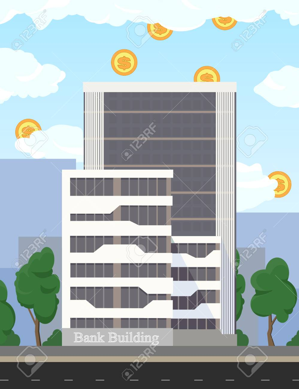 Real estate. Business building of bank and office bureaus. Business concept illustration - investment, profit flat design. Coins, dollar currency falls into the bank building from clouds. - 104765118