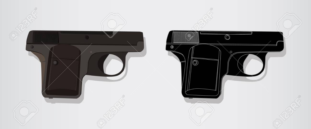 Automatic pistol of the Second World War. Isolated vector realistic and logo emblem illustration. Gun Handgun - military Weapon. - 104765123