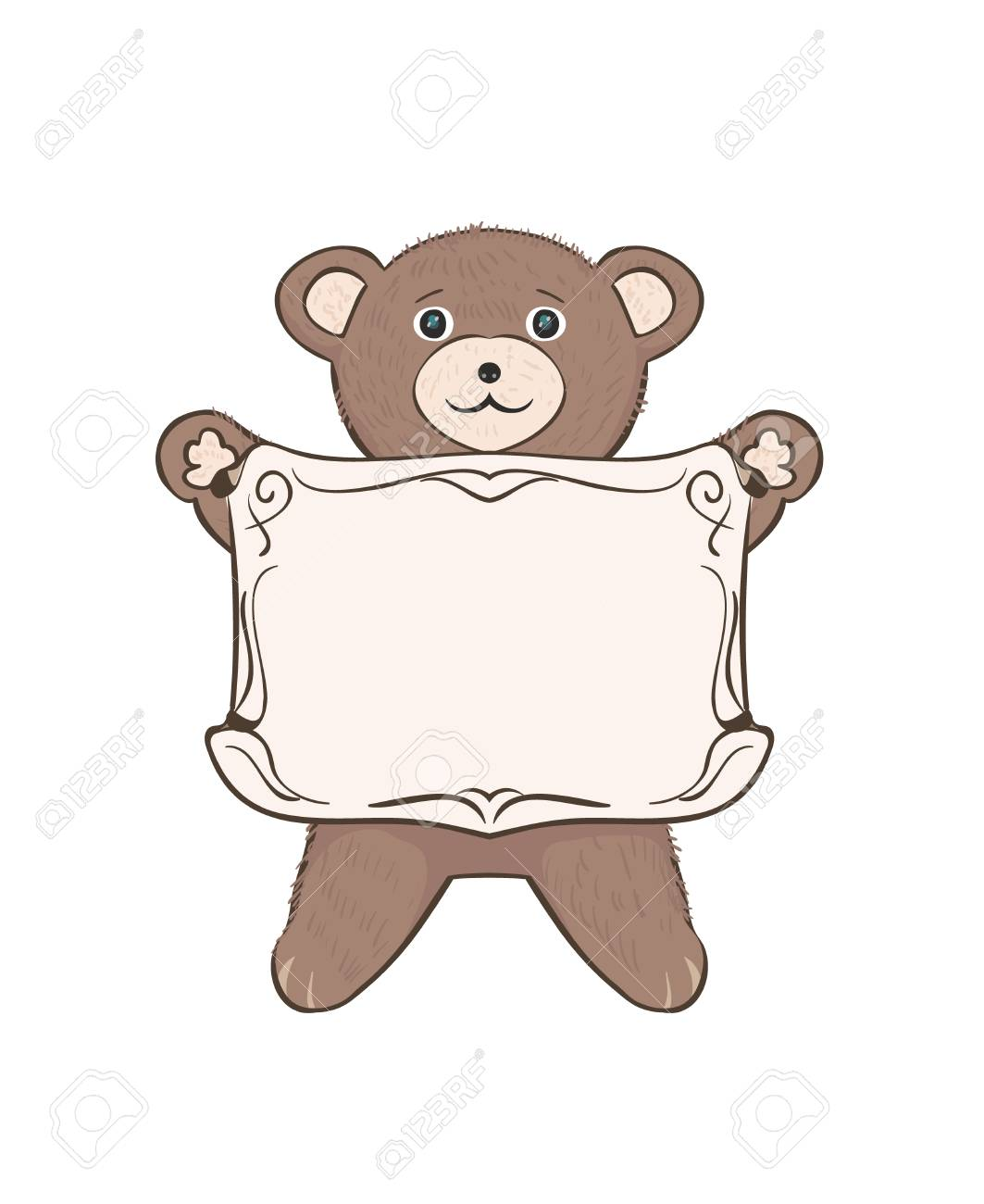 Teddy Bear Cub With Empty Frame For Text. Children\'s Vector Drawing ...