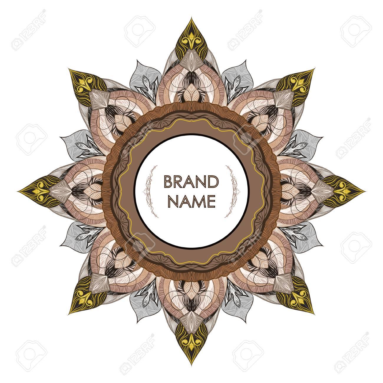 Vintage symmetrical decorative frame for text. Floral filigree detailing elegant style of drawing - empty space for brand name. Printing on envelopes, premium invitation, glasses, business card, stamp - 104765127