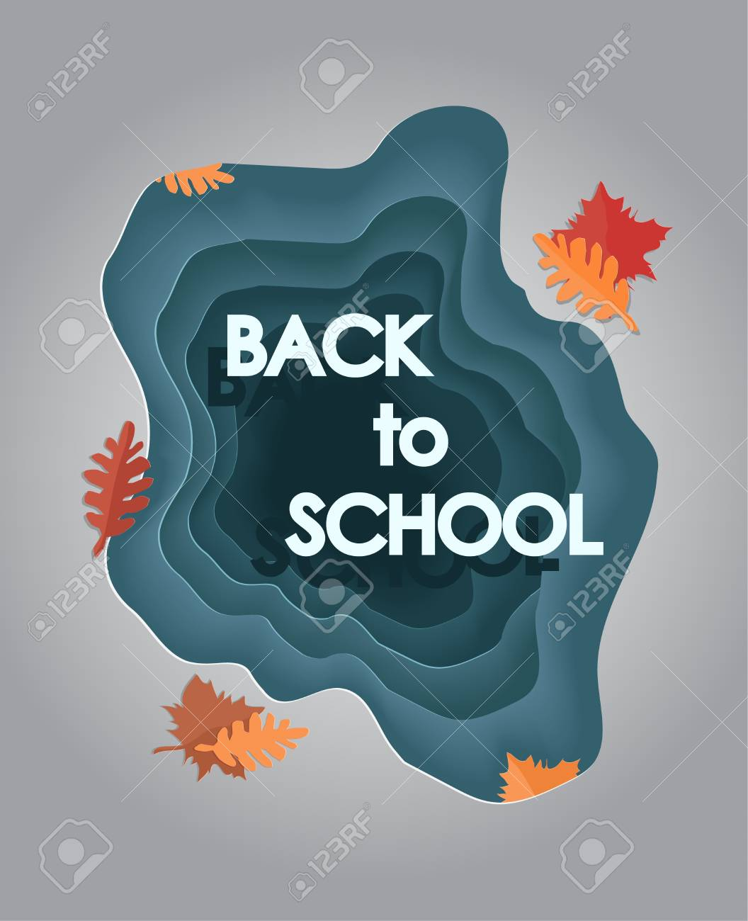 Back to school - paper cut vector illustration. 1 september card in craft style. Knowledge day. leaves fallen from the trees in autumn, lie on the asphalt near a puddle, after a rain. - 105018362