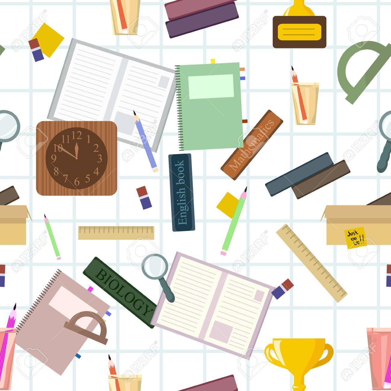 Seamless pattern with school stationery. Vector wallpapers for print on cover notebooks, children's clothes. Student preparation of subjects for return to the university, back to school. - 105018633