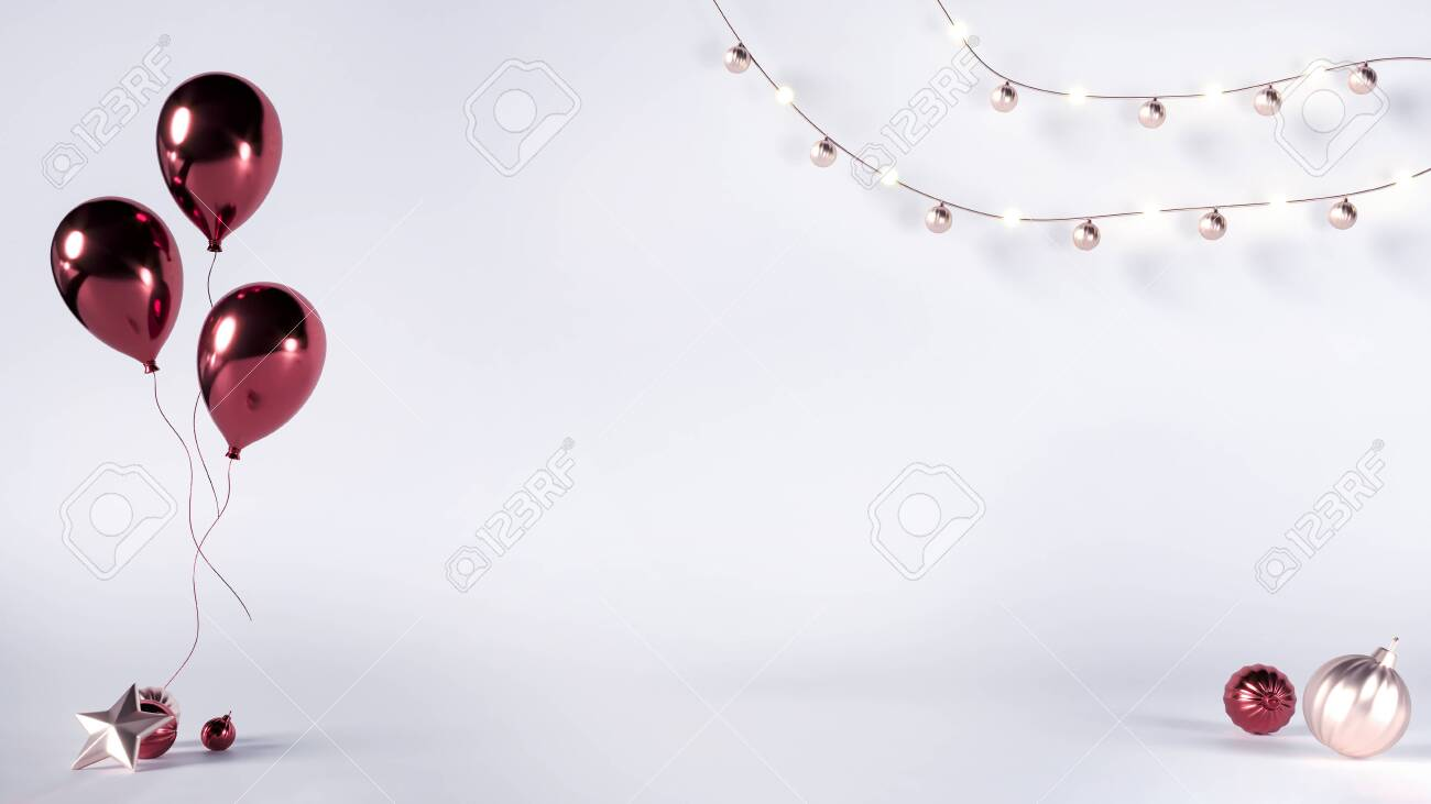 Christmas or Birthday card with balloons, decorations, toys. Promotion empty copy space. Exhibition studio for New Year advert. Blank space - 3d render illustration mockup. Light white studio template - 131750772
