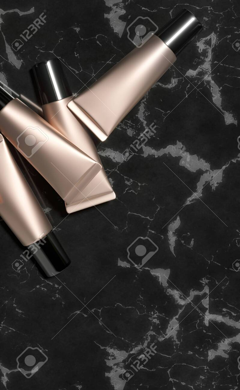 Tubes - 3d render illustration. Blank face cream - Gold tube, black cap. Cosmetics lie on black marble. Dark advertising mockup with copy space. Set of trendy realistic skin or hair care cream. - 131785895