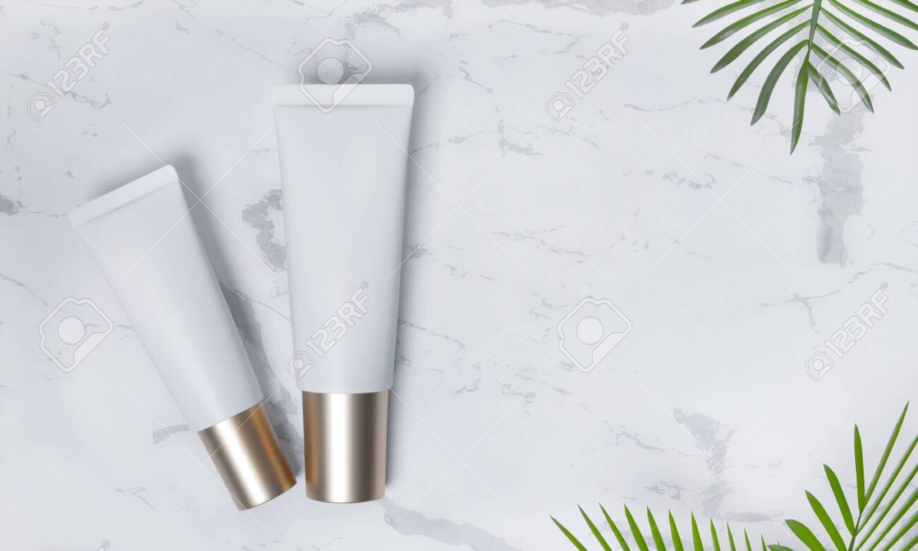 Tubes - 3d render illustration. Blank face cream - White tube, gold cap. Cosmetics lie on white marble, around palm leaves. Light advertising mockup. Set of trendy realistic skin or hair care cream. - 131785697