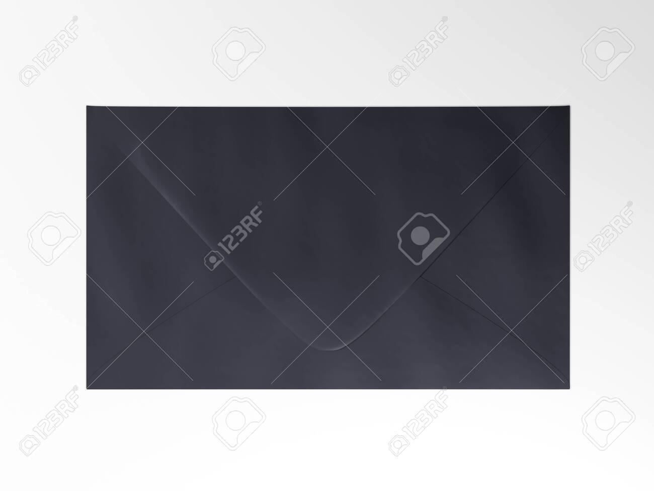 Envelope - 3d render mock up. Official business letter. Branding stationery for the office. Expensive luxury paper. Blue dark envelope lies on gray surface. Illustration for advert - 131785649