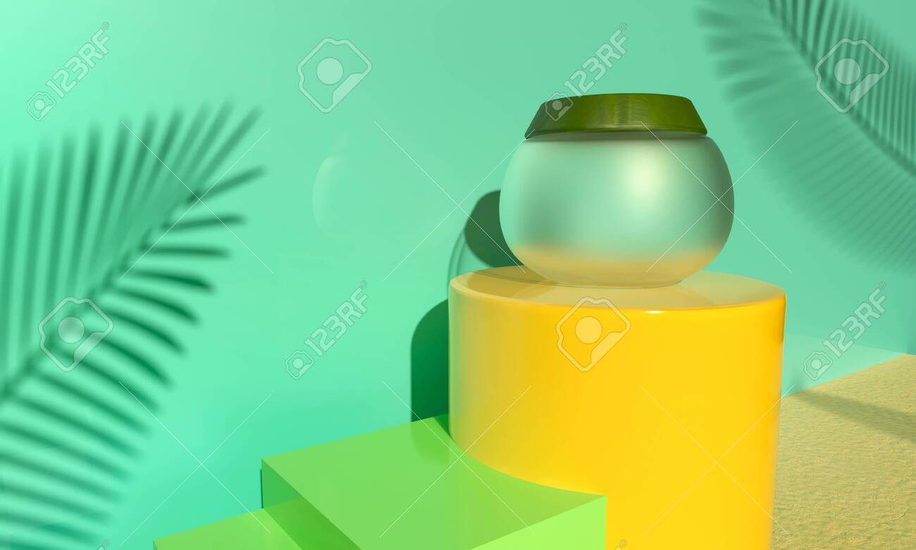 Jar Face cream on yellow podium. Palm green leaves - natural product. Cosmetic for face skin care. 3d render illustration. Mockup Product packaging branding. Revitalizing serum, gel on beach sand. - 131785836