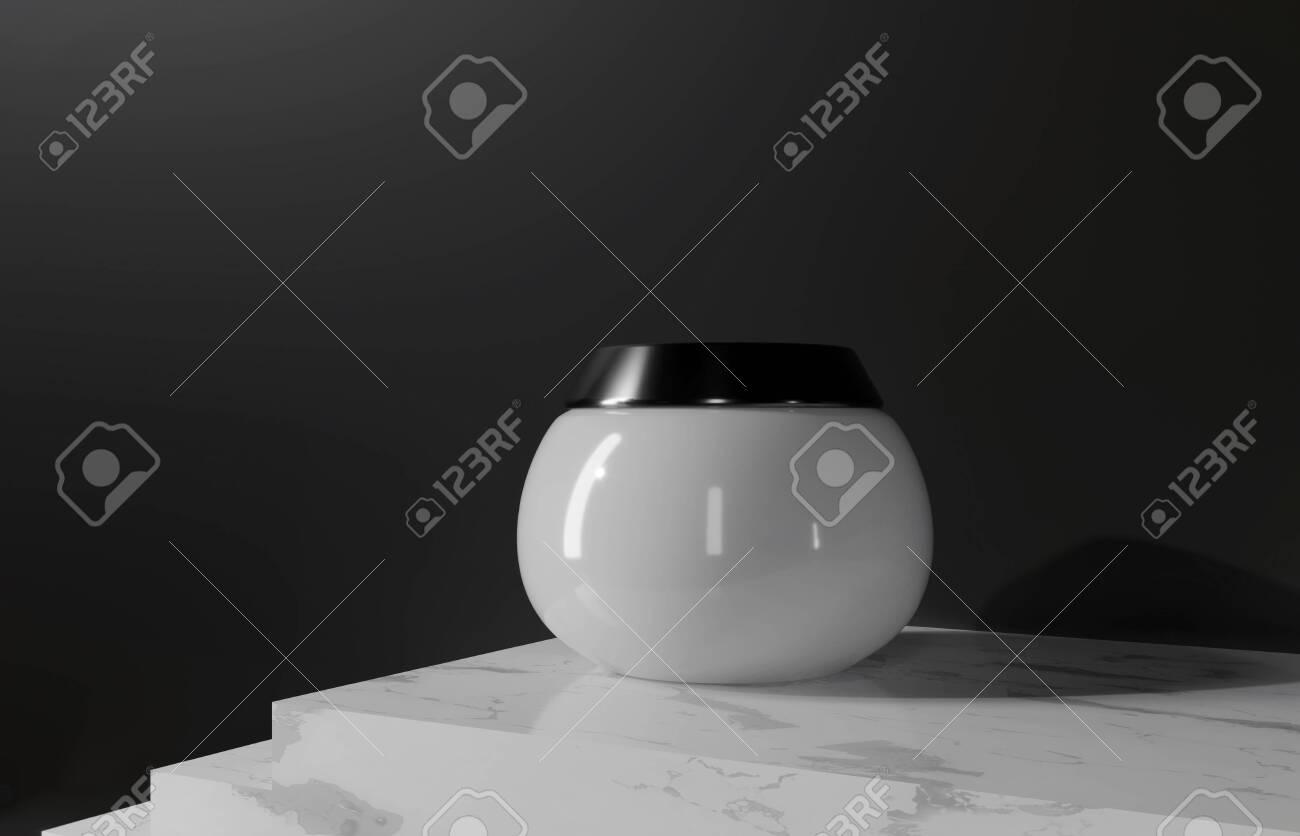 White cream in glass jar. Body, hair, skin care for women's health. Bottle for body moisturizer. Cosmetics Sale Gift 3d render illustration. Eco natural organic promotion product. Cream jar on steps. - 131785601