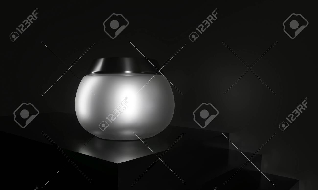 Cream in Silver jar. Body, hair, skin care for women's health. Bottle for body moisturizer. Cosmetics Sale Gift 3d render illustration. Eco natural organic promotion product. Cream jar on steps. - 131786127