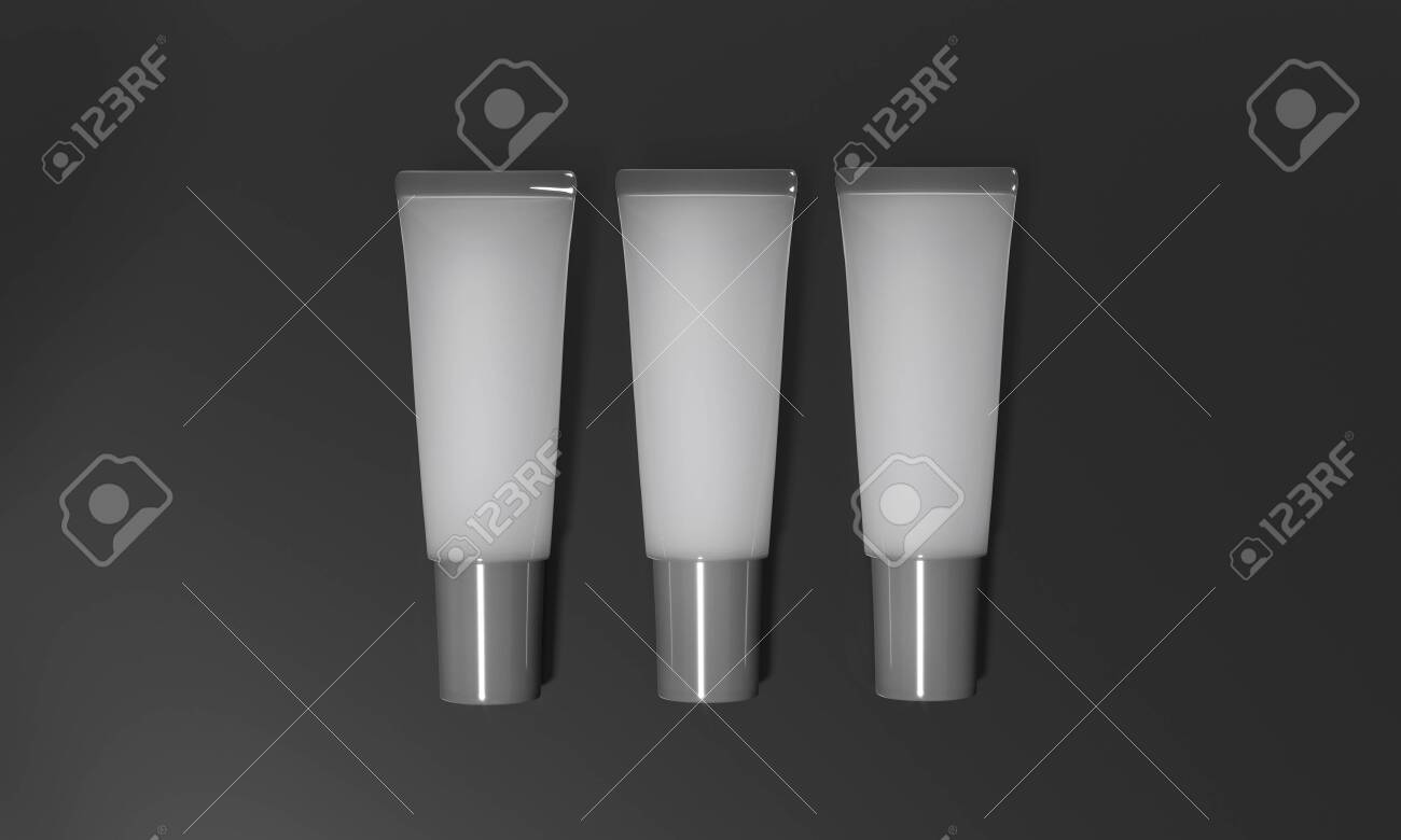 Gray tubes lie on dark background. Translucent tubes with cream - 3D render illustration. Cosmetic product advertising template. Gel for body, hair or skin. Mockup makeup realistic poster. - 131785705