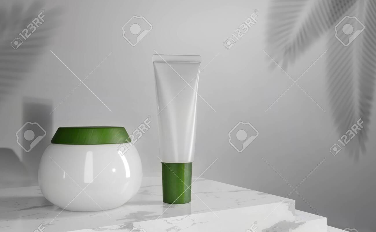 Tube, jar - 3d render illustration. Blank face cream - white tube, green cap. Advertising mockup with copy space. Trendy realistic skin or hair care cream. Cosmetics standing on a marble staircase - 131786092